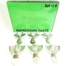 Dental Impression Tray Perforated Set of 6 S/M/L Upper Lower Stainless Steel