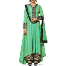 Superior Medium sea green Banarasi Silk Salwar Suit.