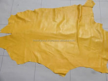 Goat leather, sheep leather skin hide skins Golden Yellow smooth finish IM.3241