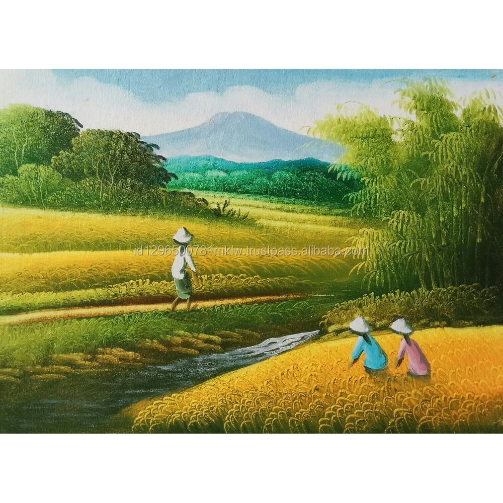 Rice Field Painting - Best Selling Original Hand Painted Oil Color On Canvas Wall Art Modern Bali Home Decoration