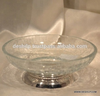 CRACKLE GLASS SOAP DISH WITH FITTING