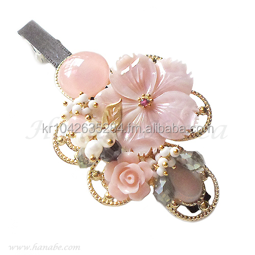 High Quality Handmade Pink Flower Mother of Pearl Beaded Hairpin Barrette Hair Pin