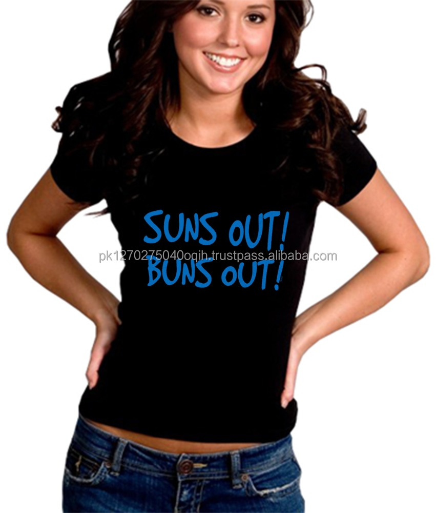 suns out buns out girls t-shirt 100% Cotton OEM Customized Printed T-shirt