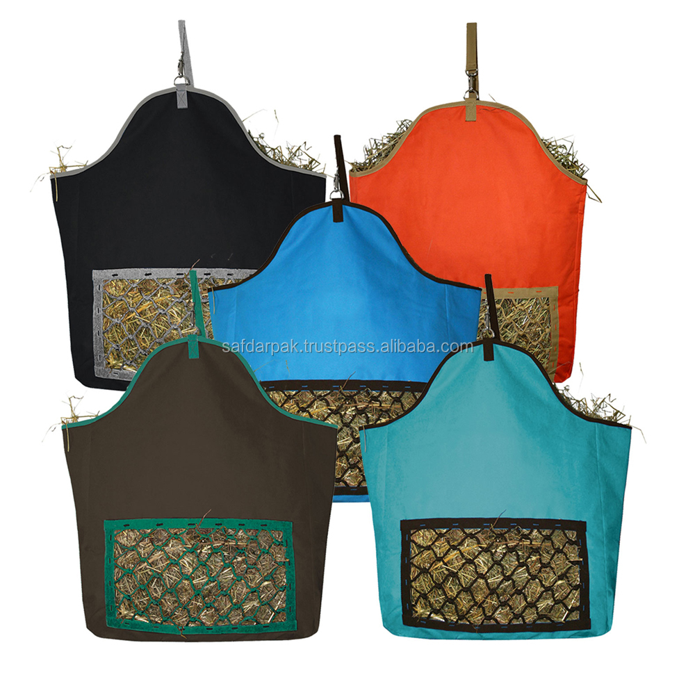 600D Polyester PVC High Quality Horse Hay Bag With Front Feed Net Holes Slow Feed
