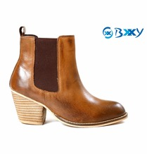 WOMEN'S TAN LEATHER SLIP-ON CASUAL AND FORMAL DRESS STYLISH AND HIGH HEEL CUBAN SOLE BOOTS ON T-UNIT SOLE