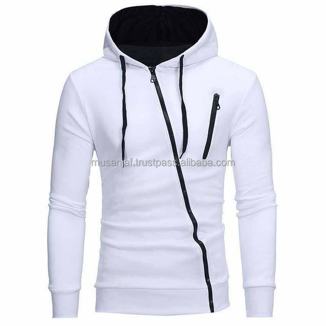 white fashion hoodie with chest zip pocket inner black lining on hood
