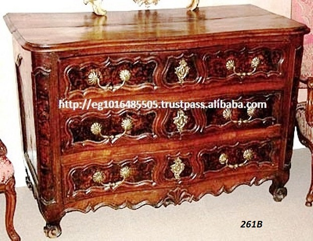 italian antique side board carved cabinet , 3 drawers ,