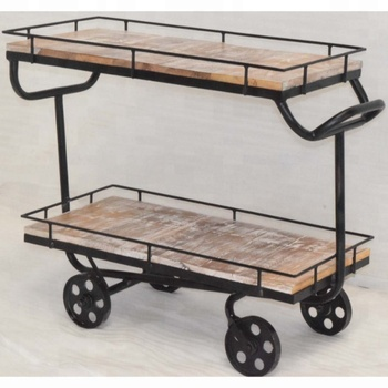 Solid Wooden Metal Industrial Vintage Design Hotel Trolley