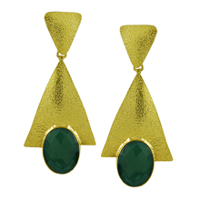 Prominent gold plated brass earrings indian jewelry wholesale fashion earrings with synthetic gemstones