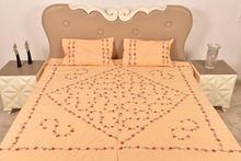 Handmade Light Orange Bed Sheet Linen with Red Floral Design BL-45