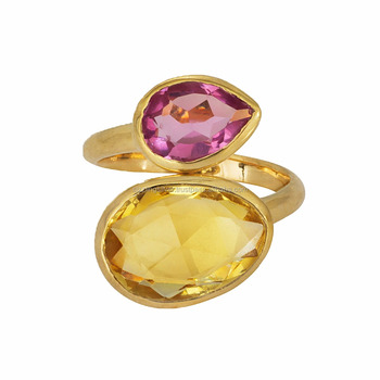 Bridal Jewelry! Citrine and pink topaz gemstone designer celebrity style gold plated ring