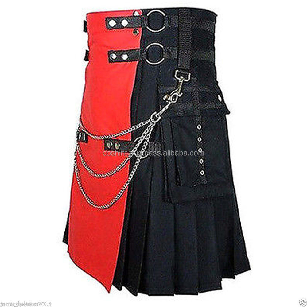 Red With Black Cotton Adult kilt With Chains For Bondage Play