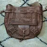 hippie Genuine leather, Moroccan Embossed shoulder bag, women bag