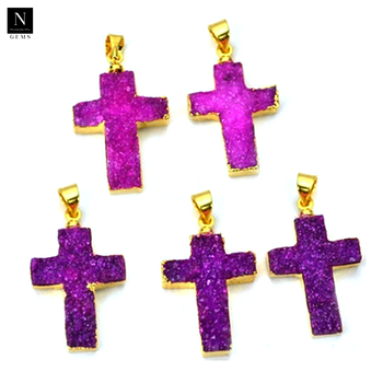 Druzy cross pendant gold electroplated necklace chain pendant with bail