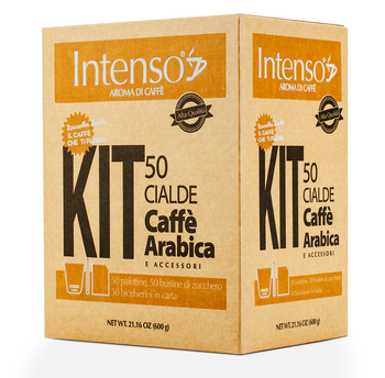 Arabica Blend Coffee - Intenso Kit - 50 Coffee pods, 50 Sugar bags , 50 wooden stirrers, 50 paper espresso cups
