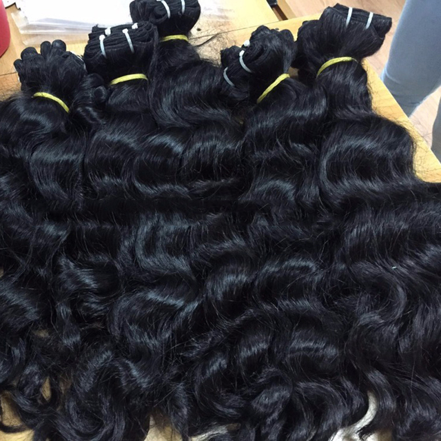 100% Raw unprocessed hair natural virgin indian weft add wavy hair extension