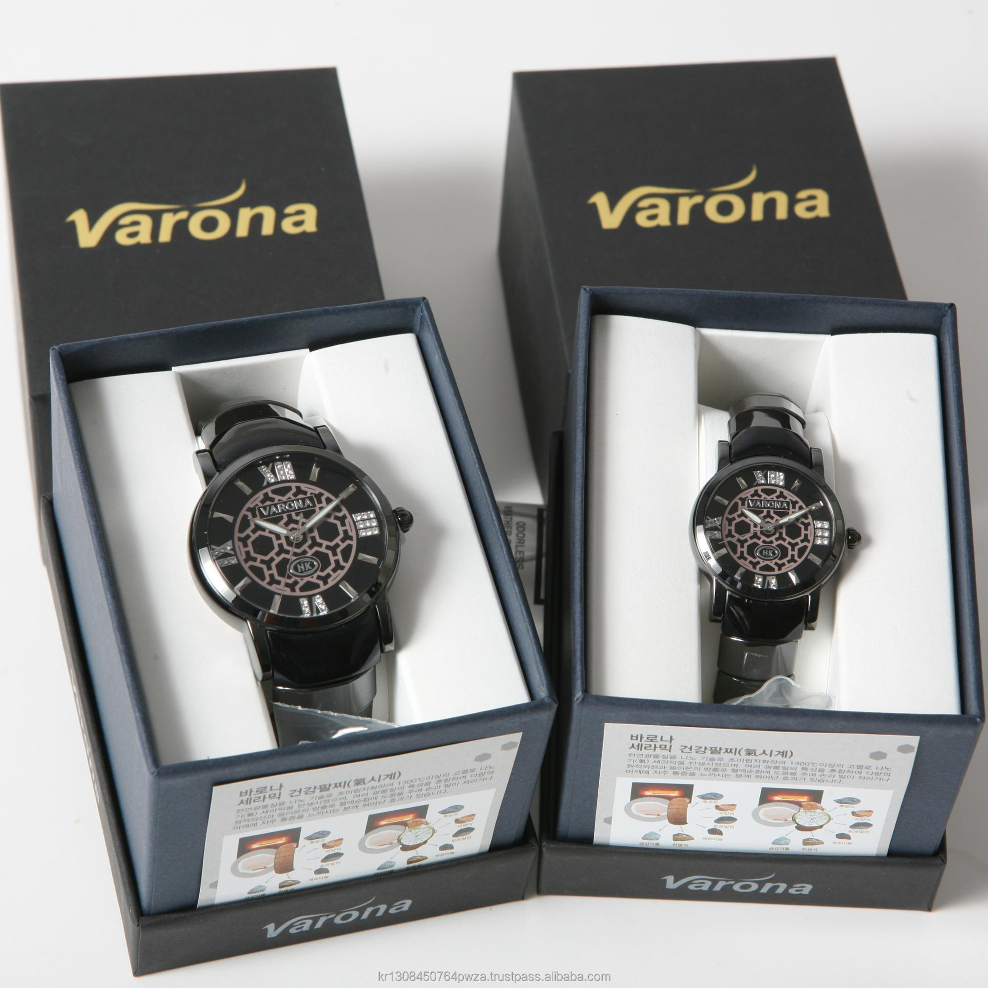 Korea VARONA Ceramic Health Care Watch Swiss Movement Movt Waterproof Fashion Black Brown Pain Relief Circulation Bio Tourmaline