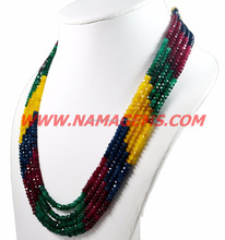 semi precious and precious stone ruby emerald sapphire color JADE beaded jewelry ready necklace