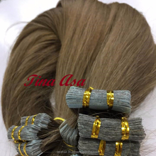 Fast shipping VietNamese remy brown tape in human hair extensions, tape skin hair, Cuticle aligned hair