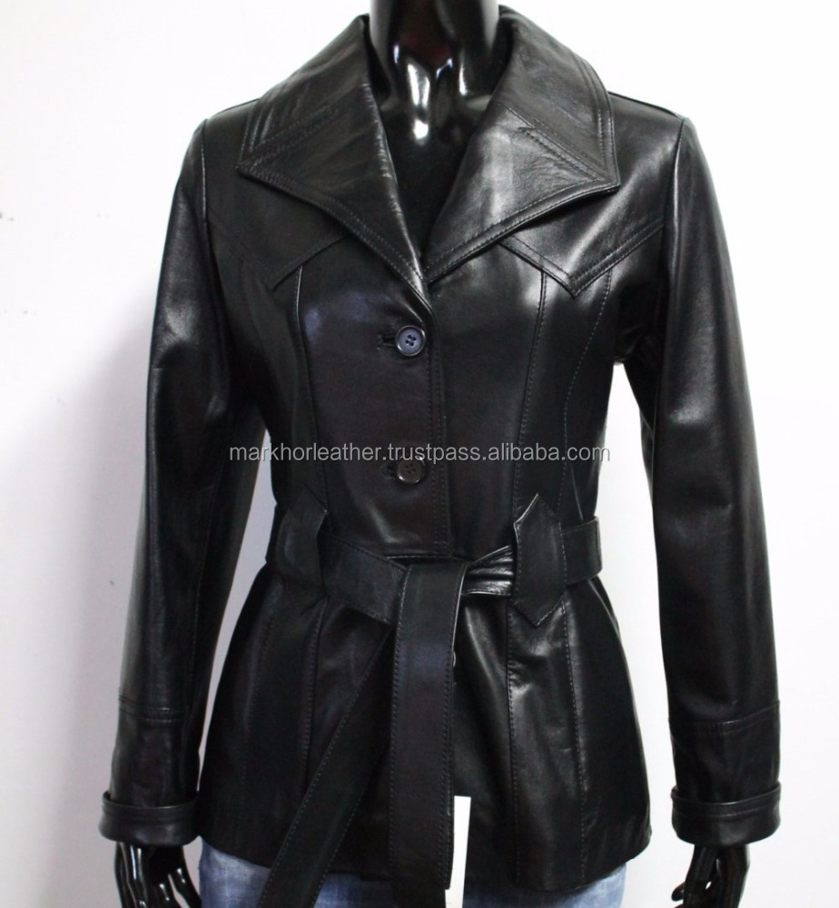 Handmade Women Soft Genuine Lambskin Leather Belted Coat Jacket Color Black