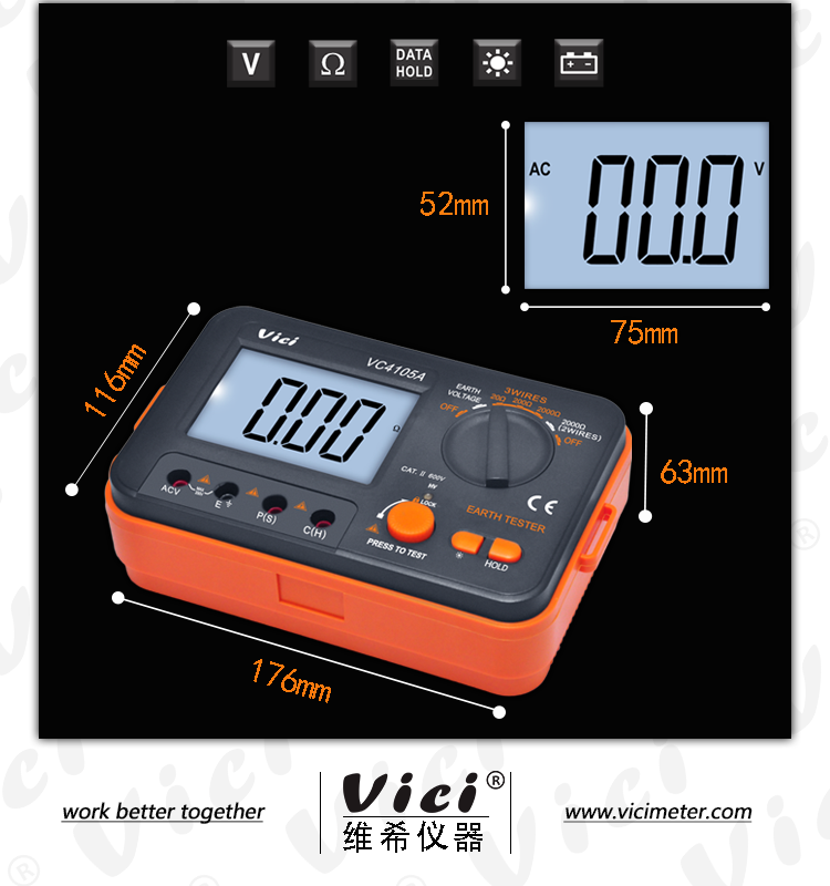 VC4105A earth resistivity tester meter with data hold