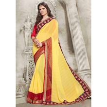 Indian Sarees Yellow Colour Chiffon Embroidered Lace Border saree