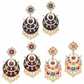 Jaipur Mart Gold Plated Kundan Meenakari Work Multi Color With Imitation Pearls Earrings Set of 3 Pairs Earrings For Girls