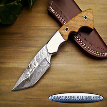 HANDMADE DAMASCUS STEEL FULL TANG SKINNER KNIFE - NATURAL WOOD HANDLE -