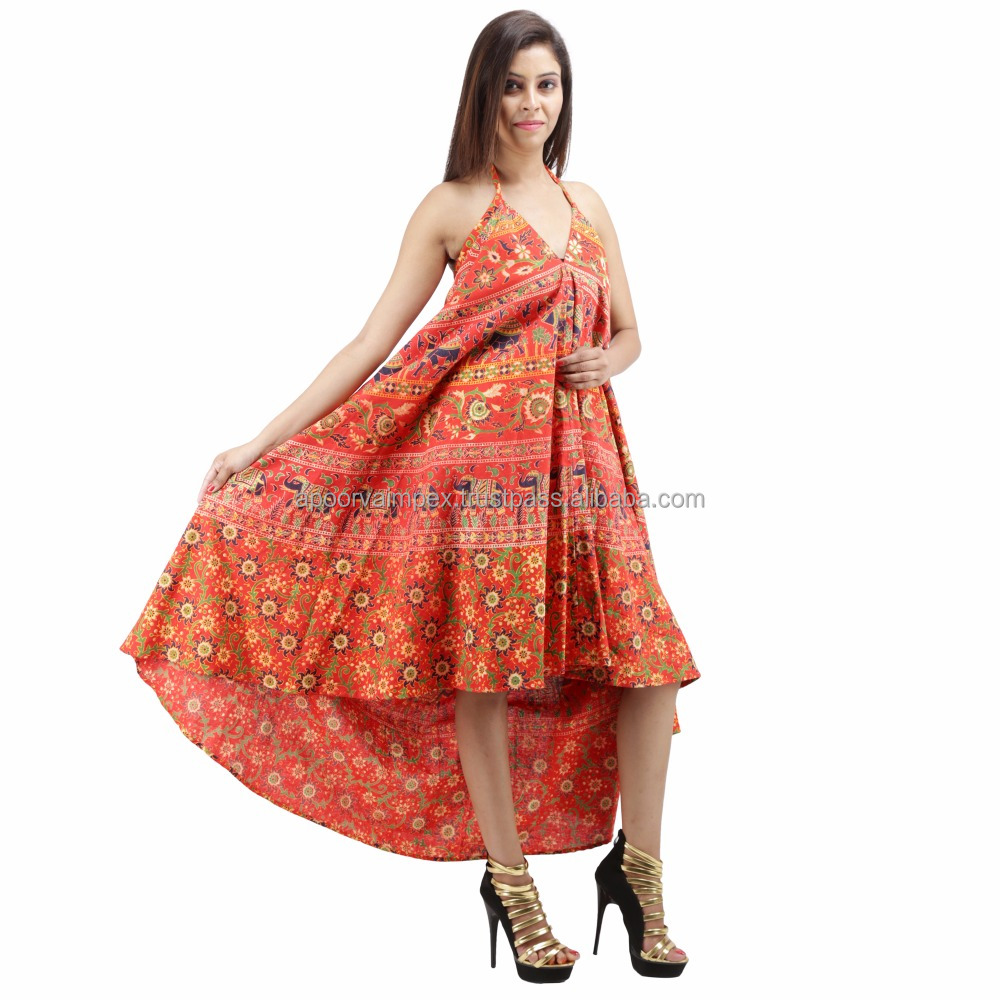 Summer Indian Print V Neck Halter Women Sun Dress
