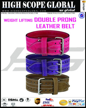 Leather Double Prong Weight Lifting Belt Custom 2017 Design Weightlifting Genuine Leather Power Belt strength training gym