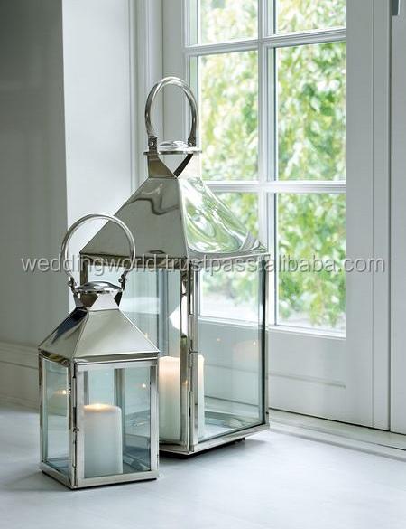 White Metal Hurricane Lantern For Home Decoration