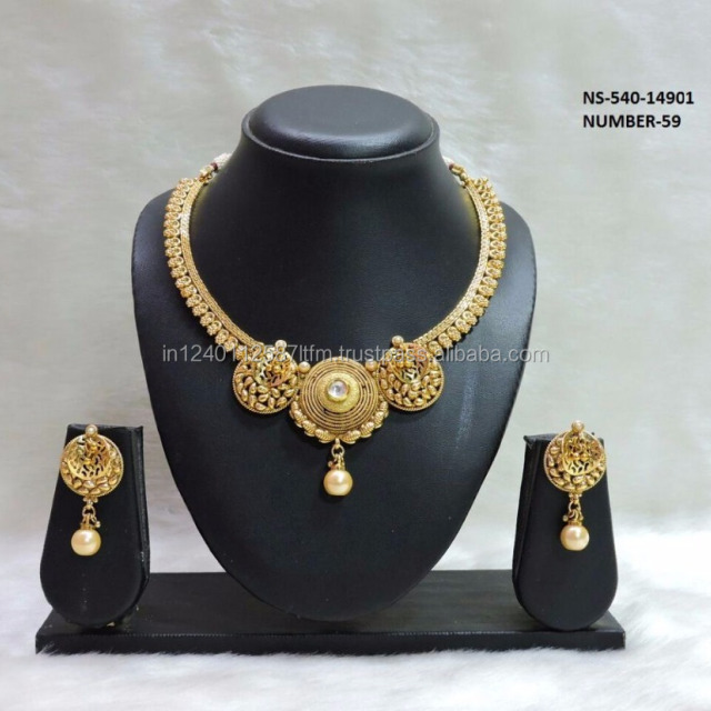 Latest Fashionable Designer 18k Gold Plated South Indian Floral Necklace Set Pearls For Wedding Bridal Party Wear