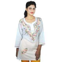 Awadh Chikan Craft ACC Women's Pure Cotton Kurti/Kurta Tunic Top Chikankari Handmade Embroidery