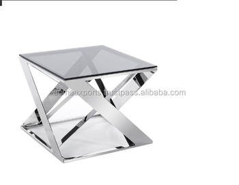 Glass Top Stainless Steel Side table | Metal Coffee Table | Decorative Side Table