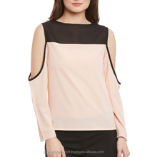 Women Peach-Coloured Crepe Loose Fit Cold Shoulder Top