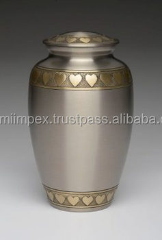 Solid brass cremation urns with glossy finish