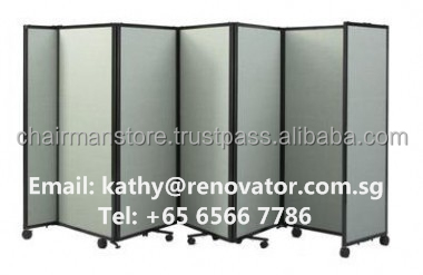 Customized practical knock-down flat pack wood panel folding screens, partition wall