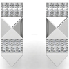 Diamond Pyramid Design 14k Solid White Gold Huggie Earrings