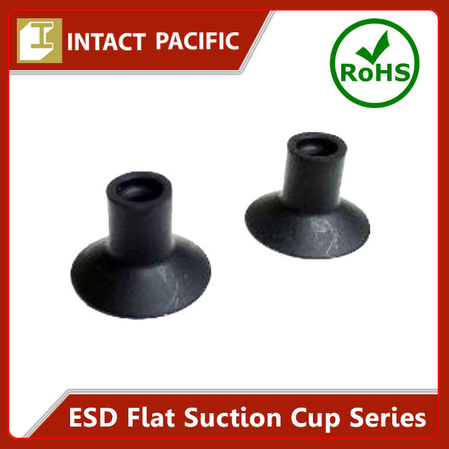 ESD Flat Suction Cup Series High quality for Expert use in Semiconductor Production Black Silicone / NBR Rubber