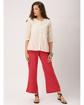 Trousers Women Flat Front Mid Waist Trousers with Elasticated Waist Women Pant