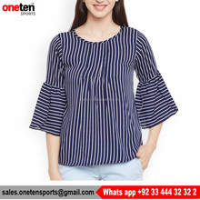 Navy Blue White Striped Woven Top