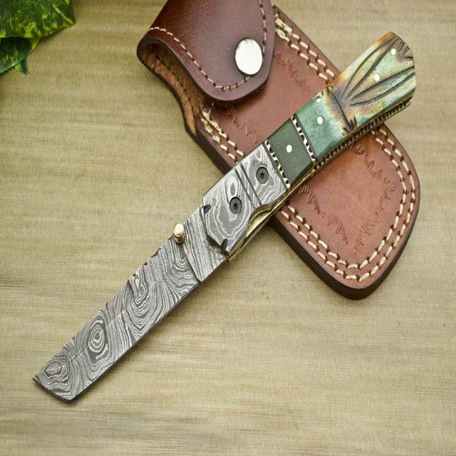 FOREVER ENTERPRISES HANDMADE DAMASCUS STEEL FOLDING POCKET KNIFE - LINER LOCK - STAINED BURN CAMEL BONE HANDLE