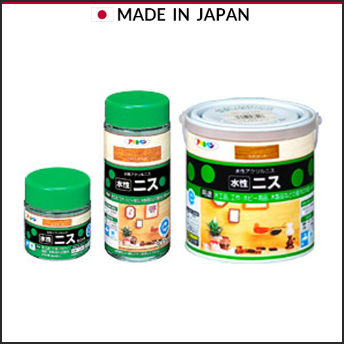 Asahipen water based varnish which is color and varnish the surface at the same time, made in Japan