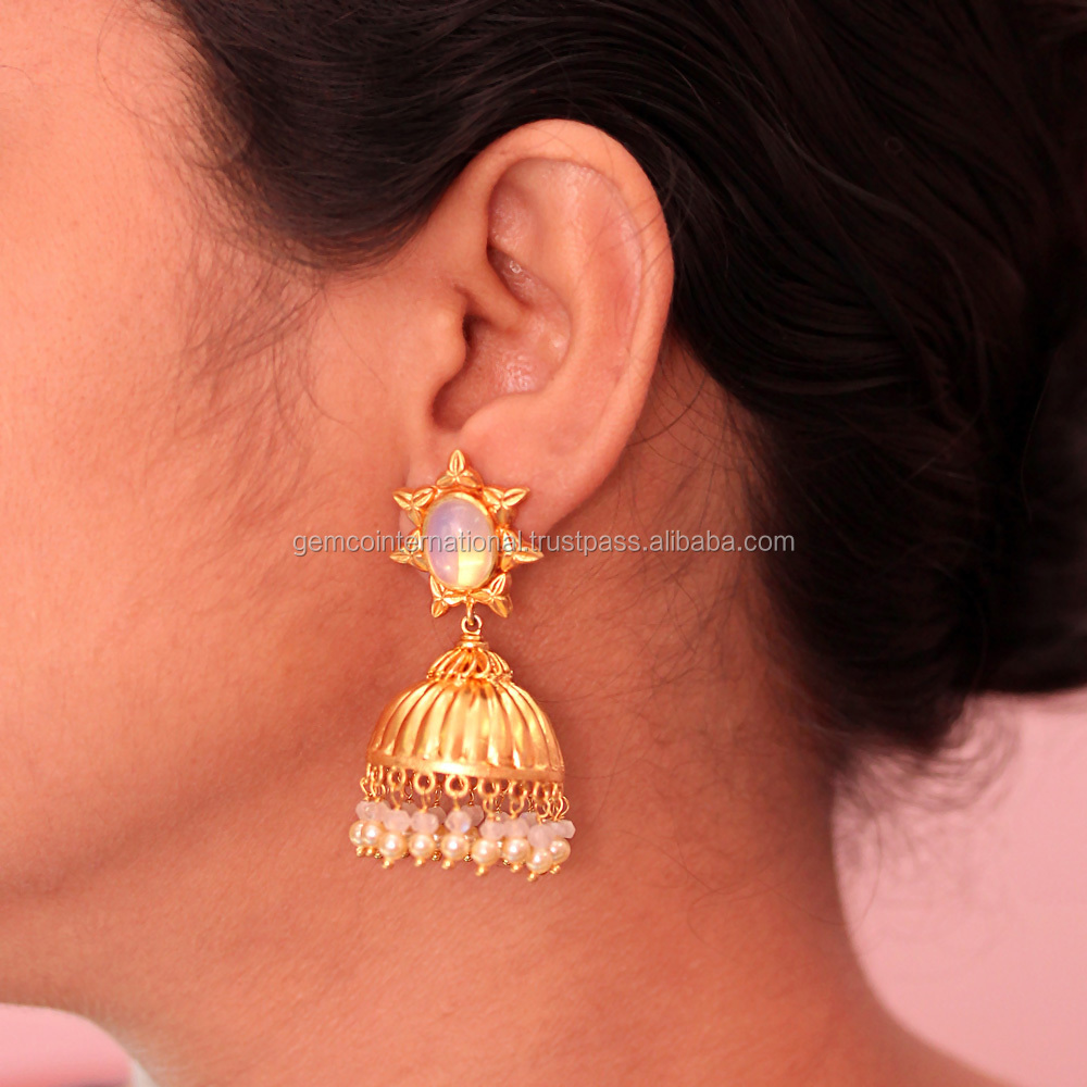 Moonstone and Pearl Jewelry Gold Plated Jhumka Designs Earring