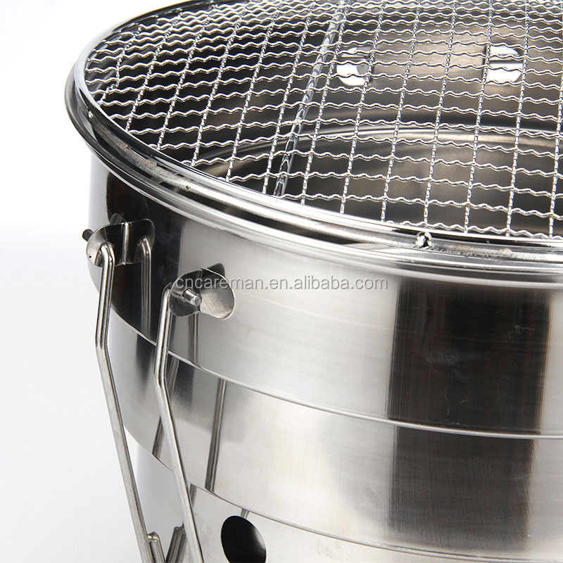 Stainless Steel Folding Ground BBQ Grill, Round Table Top Charcoal Barbecue Grill/Braai w/Carry Bag OEM Orders Accepted
