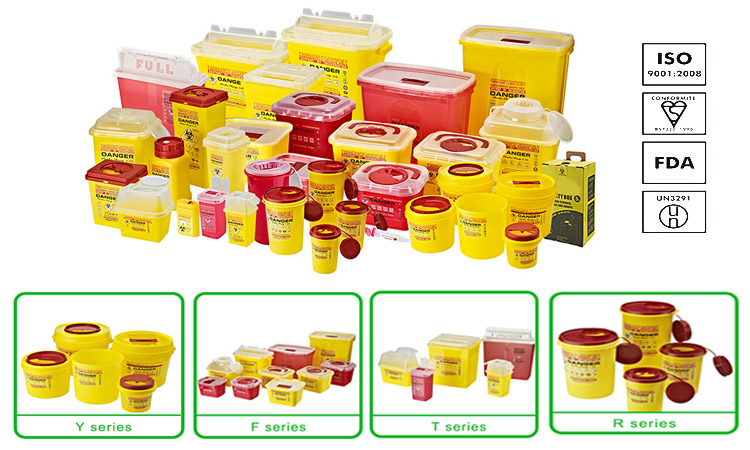 2018 popular plastic Medical Waste sharps Containers small 10l for syringe