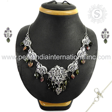 Best selling multi gemstone silver jewelry set 925 sterling silver jewelry set indian silver sets exporters