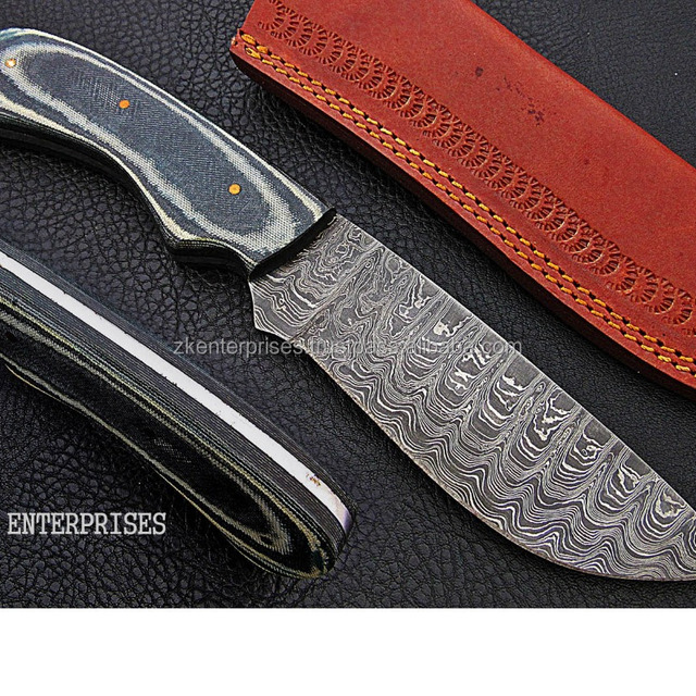 Custom Handmade Damascus Knife with Micarta Sheet Handle