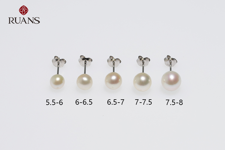 Classic S925 Silver Rhodium Plated Pearl Earrings Stud White Pairs Nickel-free