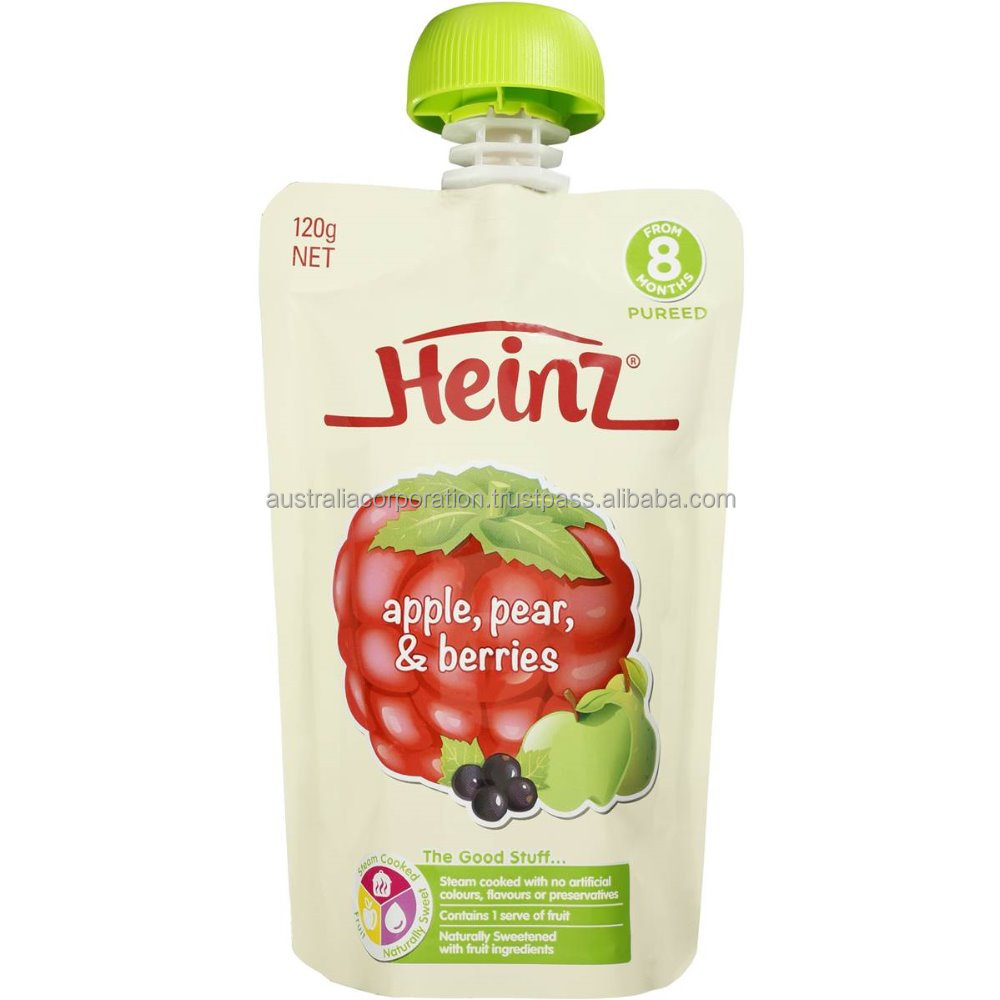 Heinz Pureed Apple, Pear & Berries Pouch 120g from 8 months baby food